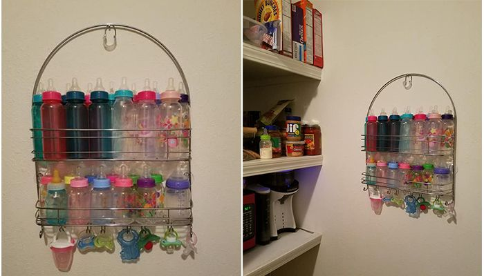 genius baby bottle storage hack - mom uses shower caddy for bottle