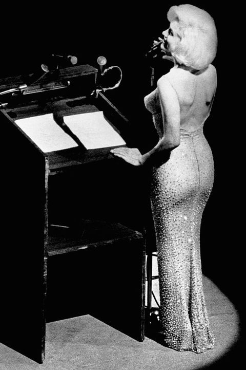 """marilyn monroe's breathy performance of""""happy birthday, mr president,"""" sung to president john f kennedy and 15,000 guestsat his birthday celebration in new york city, wouldn't have been half as famous withoutthatdress designed by the french fashion designer jean louis, the gownwas crafted from aflesh colored, sheerfabricwith over 2,500rhinestones sewn into it —if a dress hadever looked painted on, it was this one following her serenade, president kennedy took the stage and said, """"i can now retire from politics after having had 'happy birthday' sung to me in such a sweet, wholesome way"""""""