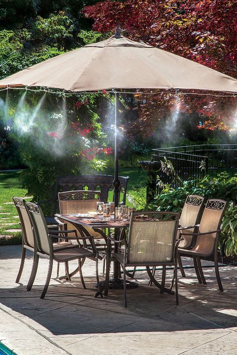 Furniture, Chair, Table, Outdoor furniture, Outdoor table, Shade, Garden, Patio, Outdoor structure, Yard,