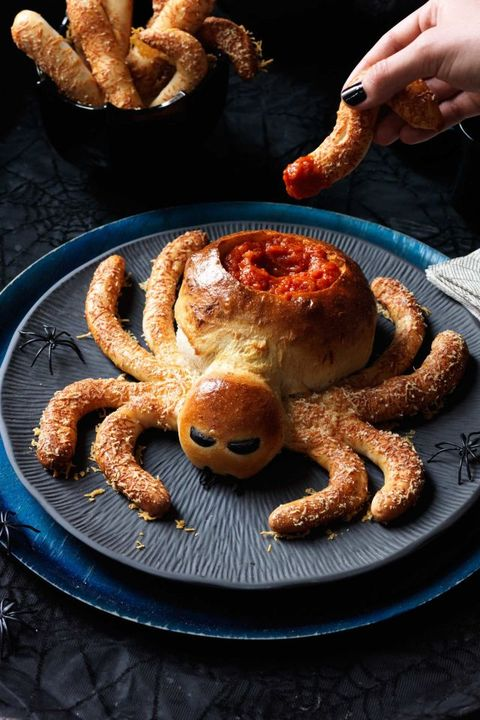 Halloween Appetizers Saucy Spider with Hairy Leg Sticks