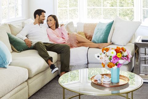 "<p>Pair a soft sweater with a&nbsp;romantic skirt, and you'll look&nbsp;polished —&nbsp;even if you're just&nbsp;snuggling up on the couch.&nbsp;</p><p><span class=""redactor-invisible-space"" data-verified=""redactor"" data-redactor-tag=""span"" data-redactor-class=""redactor-invisible-space""><em data-redactor-tag=""em"" data-verified=""redactor"">On Cara:&nbsp;</em></span><em data-redactor-tag=""em"" data-verified=""redactor""><strong data-redactor-tag=""strong"" data-verified=""redactor"">Sweatshirt</strong>, $60, <a href=""http://artizia.com"" target=""_blank"" data-tracking-id=""recirc-text-link"">artizia.com</a>.&nbsp;<strong data-redactor-tag=""strong"" data-verified=""redactor"">Skirt</strong>, $210, <a href=""http://otteny.com"" target=""_blank"" data-tracking-id=""recirc-text-link"">otteny.com</a><span class=""redactor-invisible-space"" data-verified=""redactor"" data-redactor-tag=""span"" data-redactor-class=""redactor-invisible-space""><a href=""http://otteny.com""></a></span>.&nbsp;<strong data-redactor-tag=""strong"" data-verified=""redactor"">Earrings</strong>, $21, <a href=""http://Lulus.com"" target=""_blank"" data-tracking-id=""recirc-text-link"">lulus.com</a>.&nbsp;</em><em data-redactor-tag=""em"" data-verified=""redactor"">On&nbsp;Jesse:</em> <em data-redactor-tag=""em"" data-verified=""redactor""><strong data-redactor-tag=""strong"" data-verified=""redactor"">Shirt</strong>, $48, <a href=""http://2xist.com"" target=""_blank"" data-tracking-id=""recirc-text-link"">2xist.com</a>. <strong data-redactor-tag=""strong"" data-verified=""redactor"">Pants</strong>, $50, <a href=""http://gap.com"" target=""_blank"" data-tracking-id=""recirc-text-link"">gap.com</a>.&nbsp;<strong data-redactor-tag=""strong"" data-verified=""redactor"">Sneakers</strong>, $55, <a href=""http://vans.com"" target=""_blank"" data-tracking-id=""recirc-text-link"">vans.com</a>.&nbsp;</em></p>"