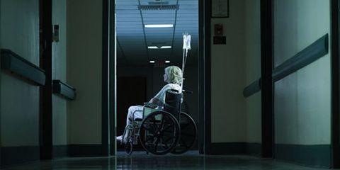 Wheelchair, Door, Glass,