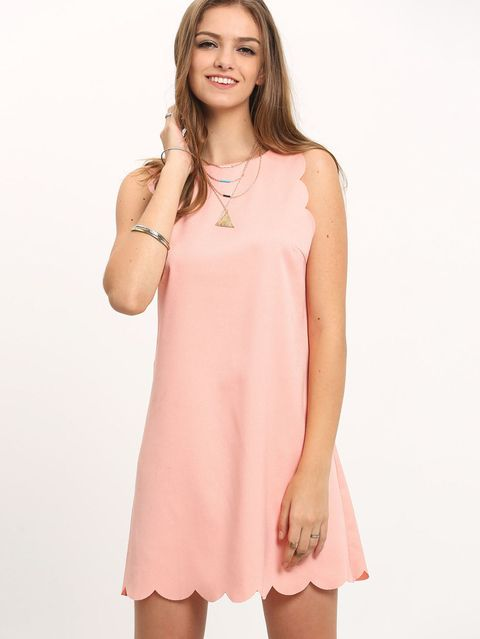 scallop trim dress