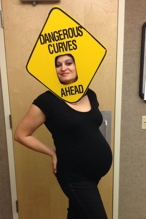 da87c3e6a4f2 pregnant halloween costumes - dangerous curves sign pregnant costume