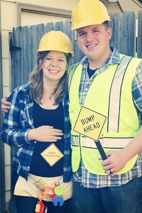 construction worker maternity couple costume pregnancy  sc 1 st  Good Housekeeping & 23 Best Pregnant Halloween Costumes for 2018 - DIY Maternity Costume ...