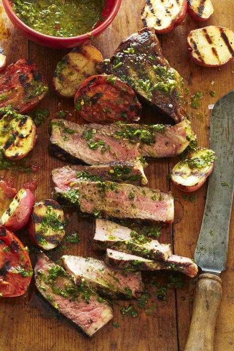 chimichurri strip steak tomatoes potatoes recipe gh 0817
