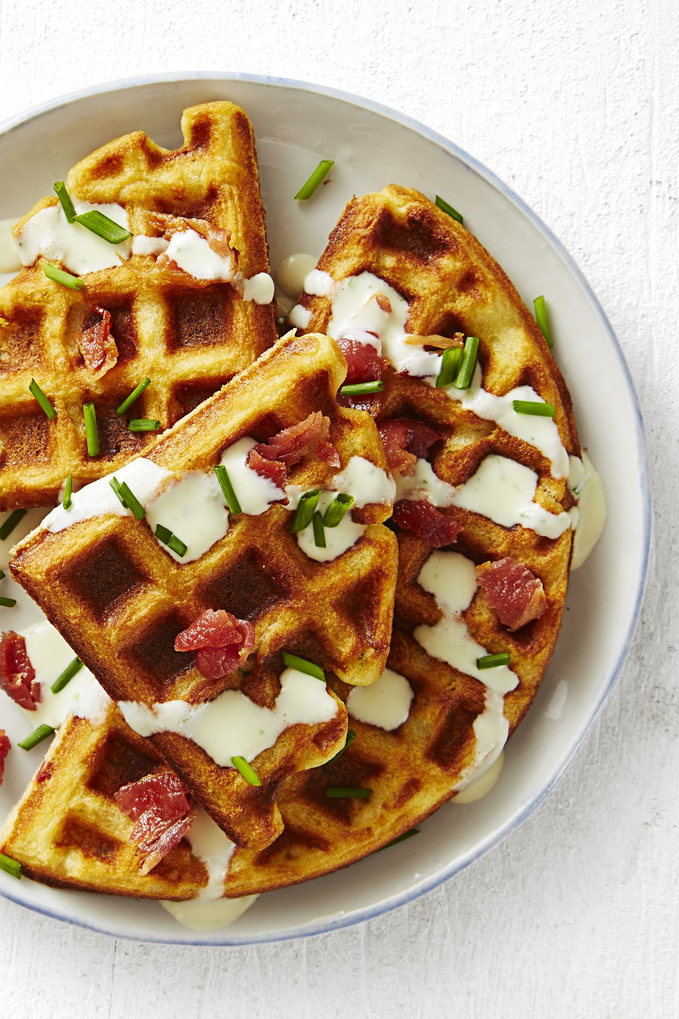 savory bacon and chive waffles