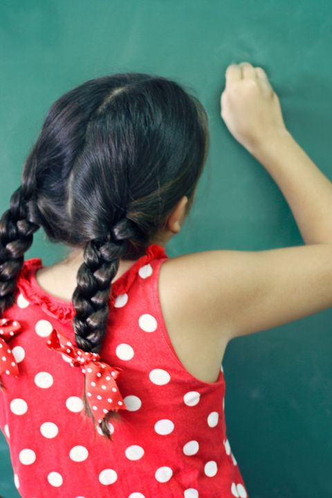 Hair, Hairstyle, Shoulder, Joint, Pattern, Style, Polka dot, Braid, Back, Long hair,