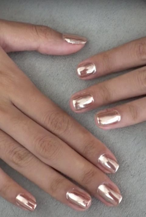 Rose Gold Chrome Fall Nail Design