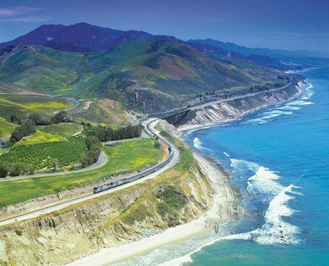 Coast, Natural landscape, Promontory, Headland, Coastal and oceanic landforms, Aerial photography, Mountain, Road, Water resources, Sea,