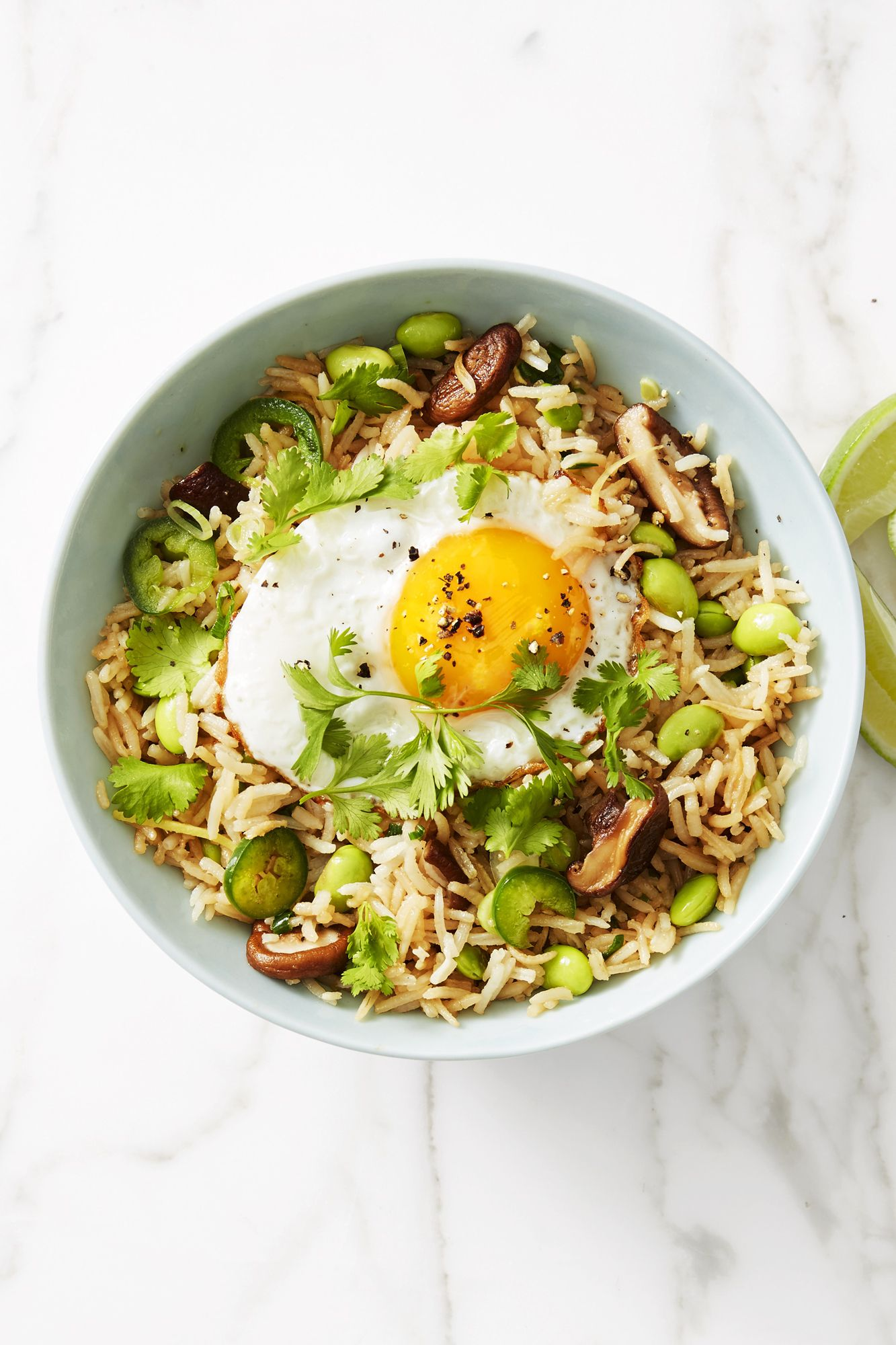 Vegetarian Fried Rice with Shiitakes and Edamame