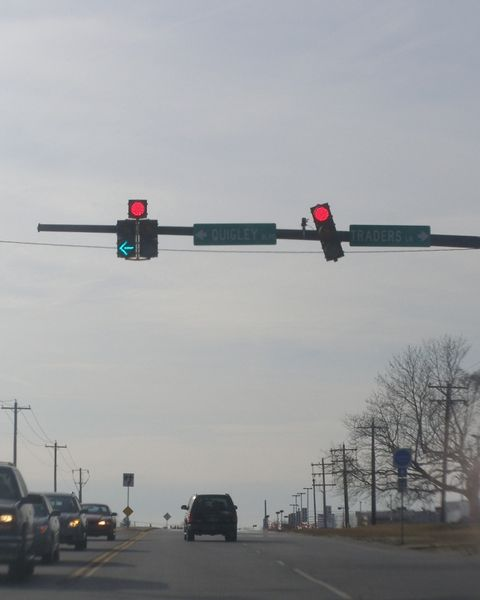 crooked traffic light