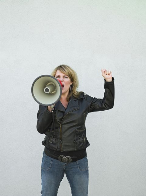 Megaphone, Standing, Jeans, Photography, Jacket, Gesture, Wheel, Top, Metal, Photo shoot,