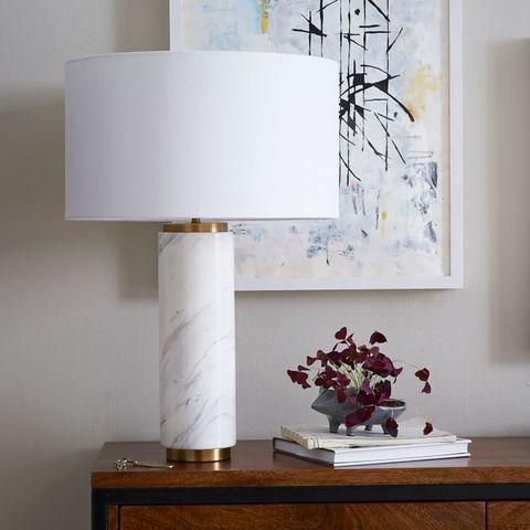 Lampshade, White, Lighting accessory, Table, Lighting, Room, Light fixture, Furniture, Lamp, Interior design,