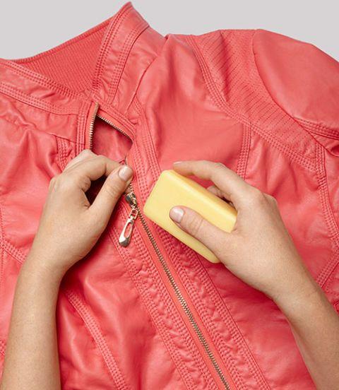 Clothing, Peach, Orange, Pink, Outerwear, Jacket, Collar, Zipper, Magenta, Button,