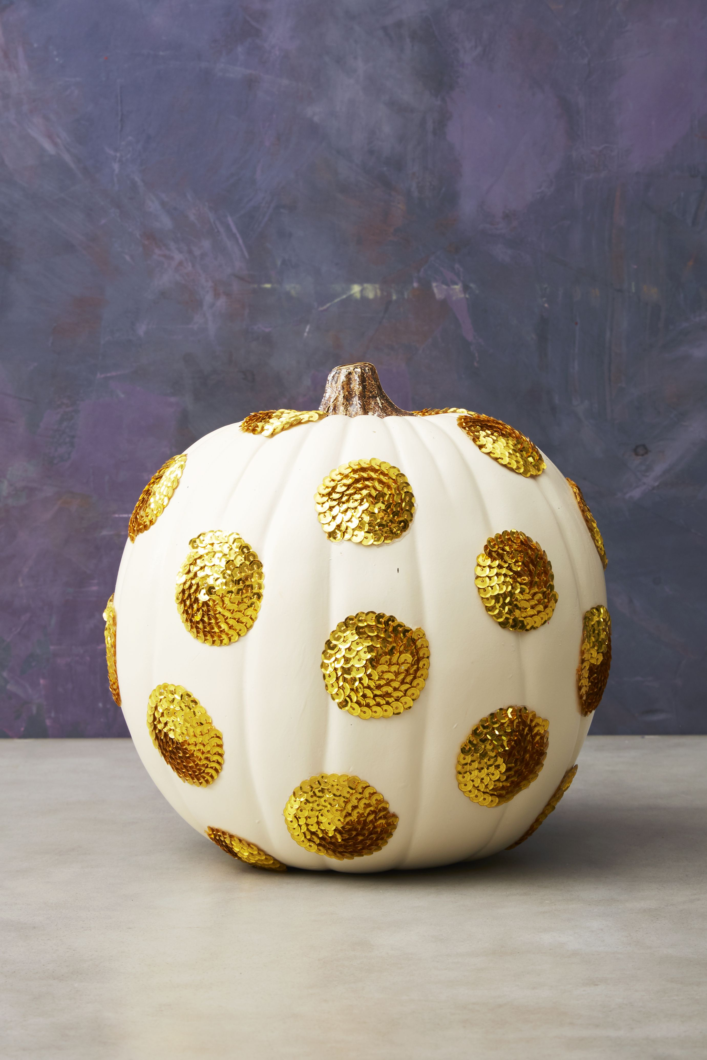 sequin polka dot halloween pumpkin & 60+ Pumpkin Designs We Love for 2018 - Pumpkin Decorating Ideas