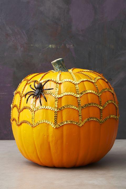 sequin spider web halloween pumpkin