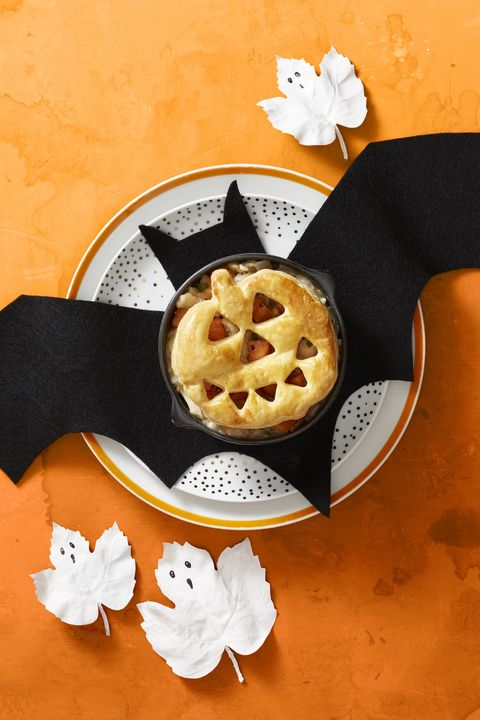Roasted Chicken Pot Pie with Bat Placemat