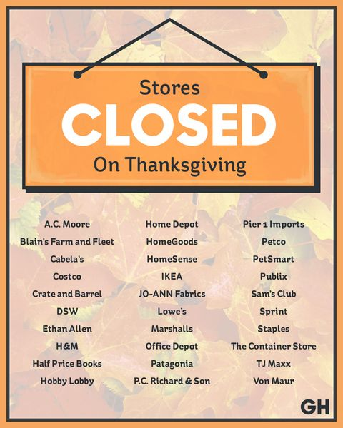 Stores Closed On Thanksgiving Day 2017 List