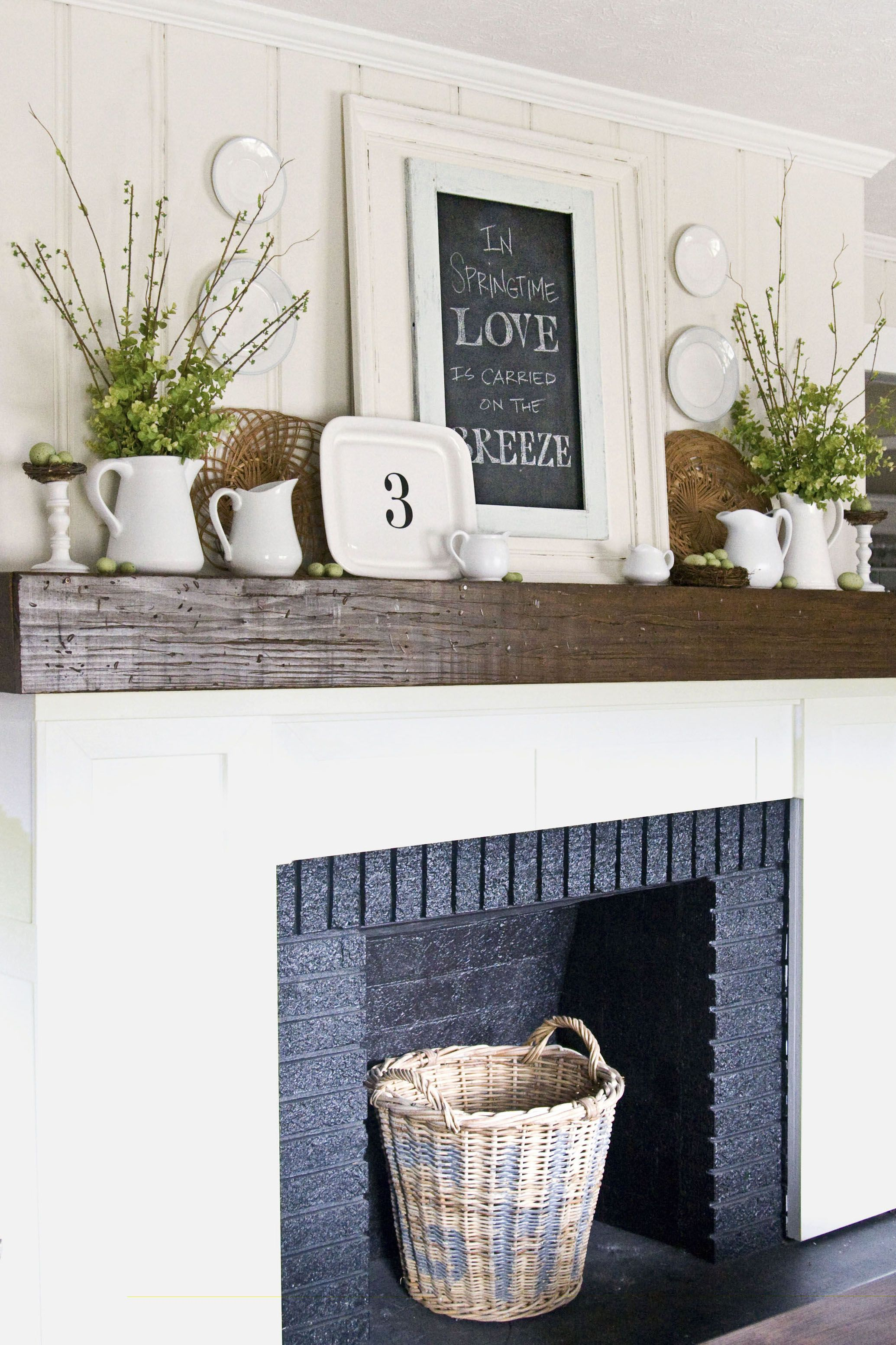 fireplace with basket