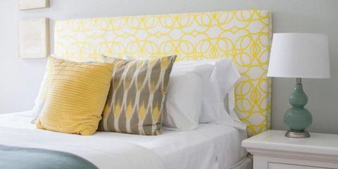 Yellow, Furniture, Room, Wall, Bed, Bedroom, Pillow, Interior design, Bedding, Wallpaper,