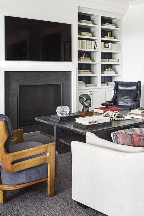 Molly Sims living room with bookshelf
