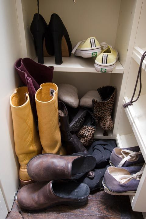 "<p>If there's a pile by your front door, that says a lot: ""This could either mean they're lacking a front hall closet or mudroom space or that they have too many shoes,"" says Anna Bauer, <a href=""https://www.thumbtack.com/k/home-organizers/near-me/"" target=""_blank"" data-tracking-id=""recirc-text-link"">Thumbtack</a> home organizer and owner of <a href=""http://sortedbyanna.com/"" target=""_blank"" data-tracking-id=""recirc-text-link"">Sorted by Anna</a><a href=""http://sortedbyanna.com/""></a>. </p>"