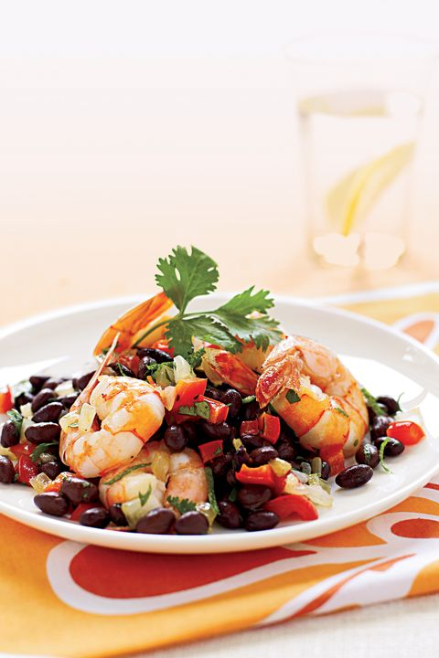 sauteed shrimp on warm black bean salad