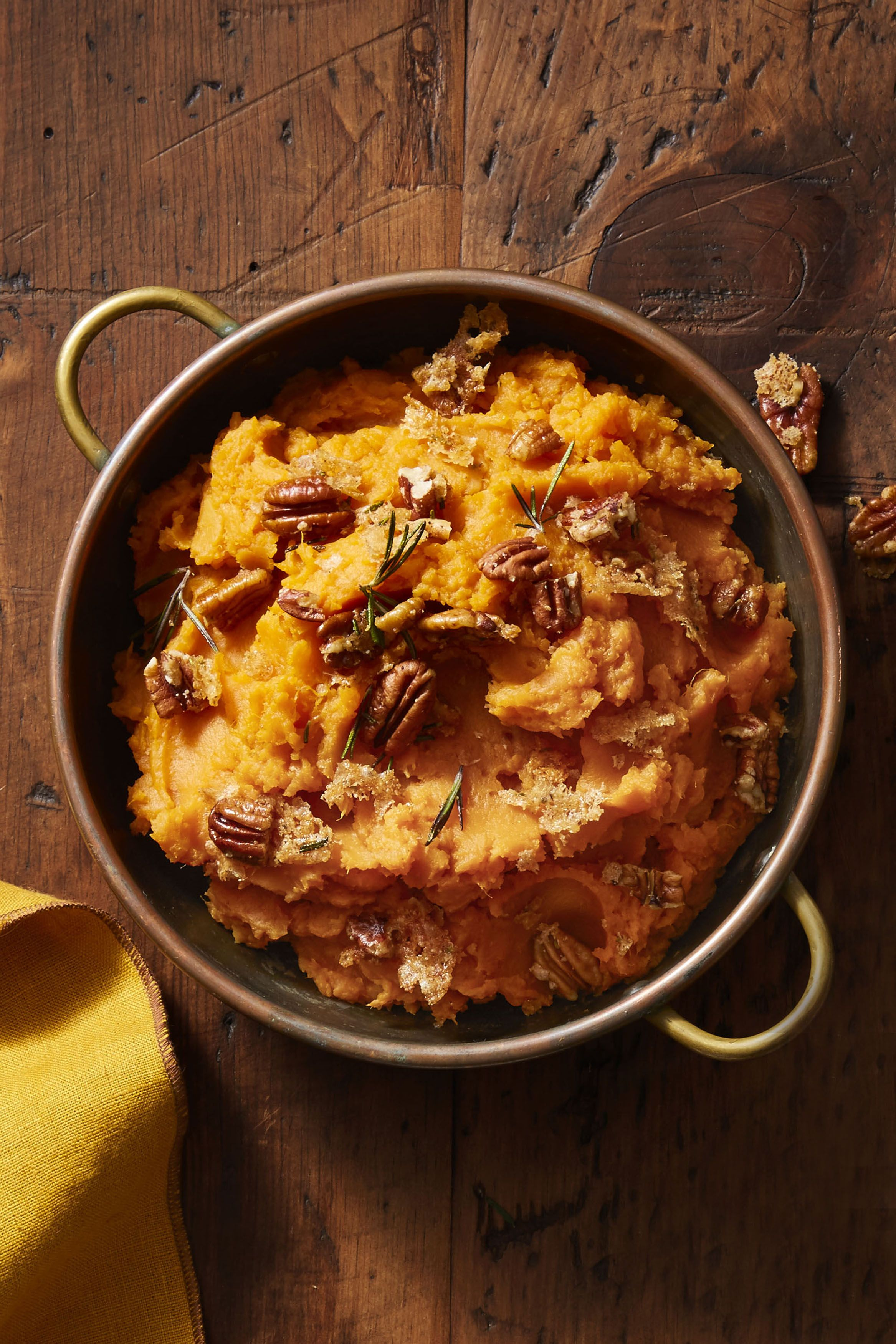 Mashed Sweet Potatoes with Rosemary Pecans