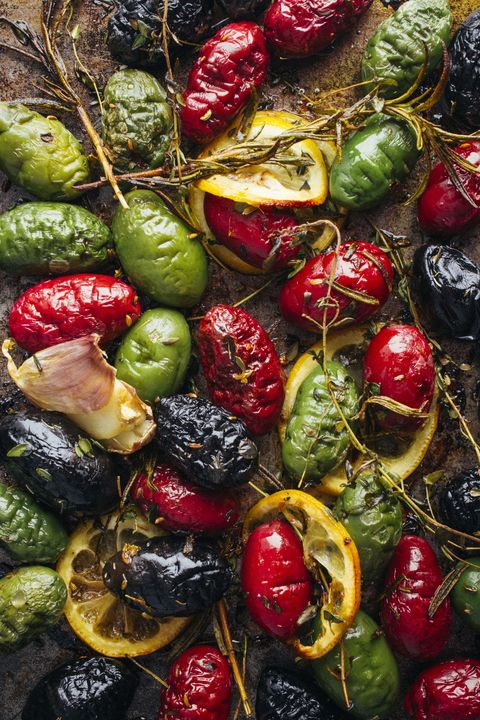 thanksgiving appetizers - roasted olives with lemon, garlic and herbs