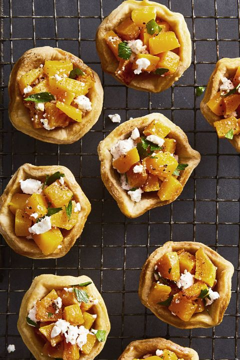 thanksgiving appetizers   butternut squash and feta tartlets