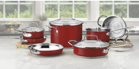 Red, Cookware and bakeware, Lid, Crock, Metal, Kitchen appliance accessory, Serveware, Food storage containers, Dishware, Stock pot,