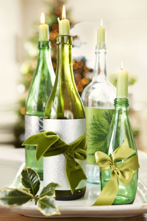 wine bottle candle holders - Green Christmas Decorations