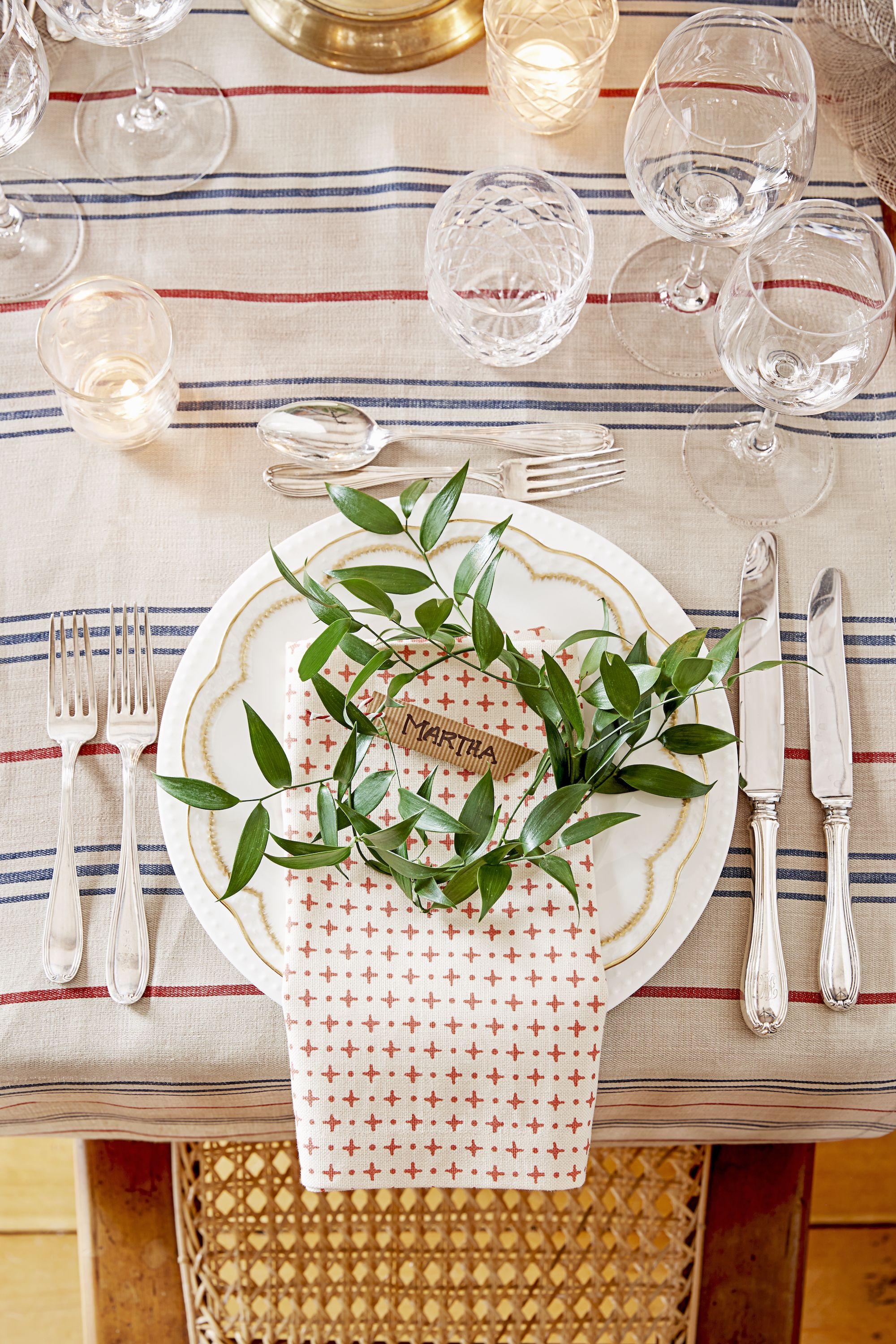 rustic stripe christmas table place setting