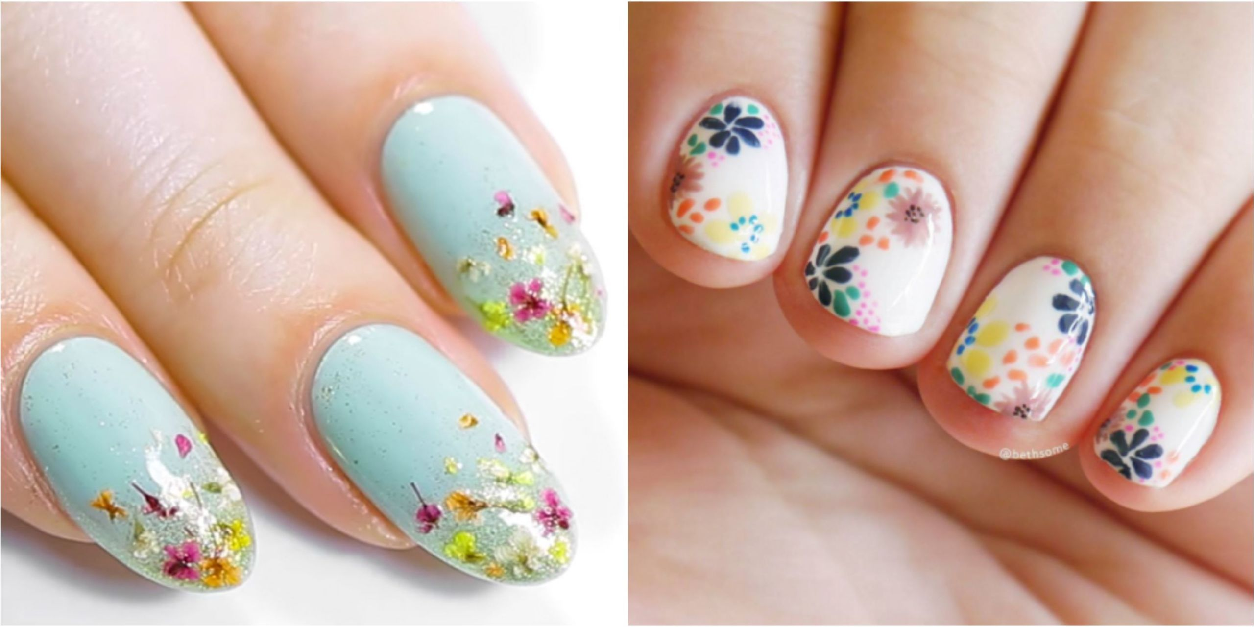 25 Flower Nail Art Design Ideas , Easy Floral Manicures for