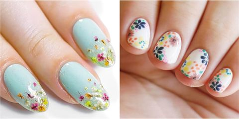 Because everybody loves flowers, these gorgeous nail art designs are  perennial. Whether done freehand with a brush or with the help of stamps, a  floral ... - 25 Flower Nail Art Design Ideas - Easy Floral Manicures For Spring
