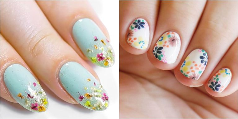 Because everybody loves flowers, these gorgeous nail art designs are  perennial. Whether done freehand with a brush or with the help of stamps,  ... - 20 Flower Nail Art Design Ideas - Easy Floral Manicures For Spring
