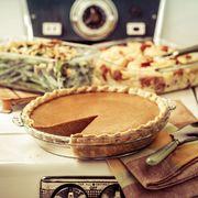 pumpkin pie on vintage stove