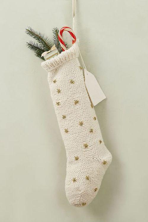 west elm knit metallic thread starburst stocking
