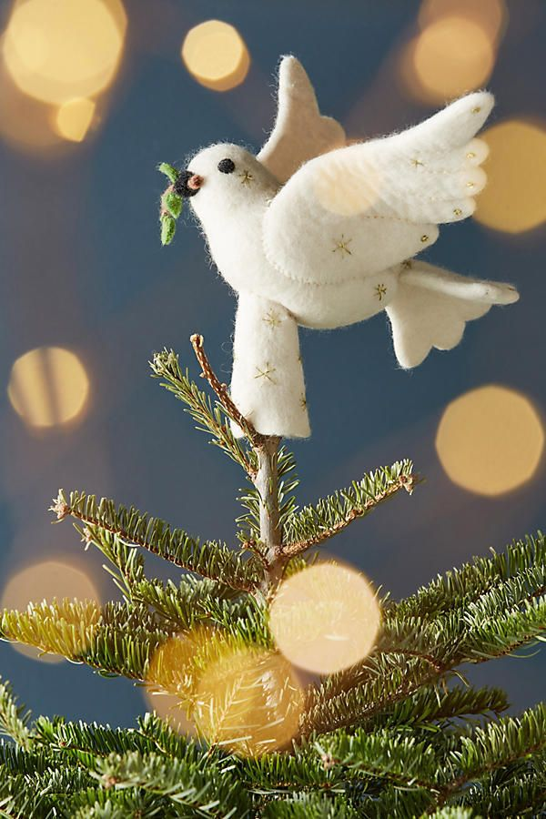 anthropologie felted dove tree topper