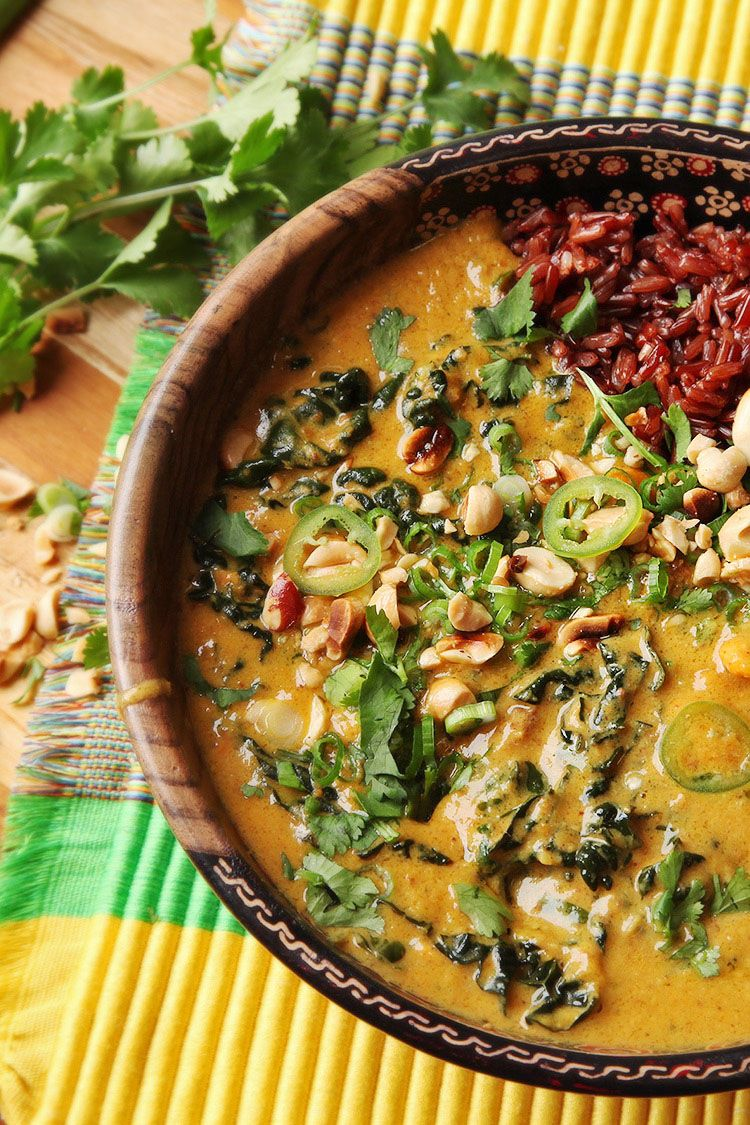 """<p>This hearty soup is fully vegan and pulls from West African and <a href=""""http://www.goodhousekeeping.com/food-recipes/easy/a42833/thai-turkey-lettuce-wraps-recipe/"""" target=""""_blank"""" data-tracking-id=""""recirc-text-link"""">Thai flavors</a>.</p><p><a href=""""http://www.seriouseats.com/recipes/2016/03/west-african-inspired-vegan-peanut-sweet-potato-soup-recipe.html"""" target=""""_blank"""" data-tracking-id=""""recirc-text-link""""><em data-redactor-tag=""""em"""" data-verified=""""redactor"""">Get the recipe from Serious Eats »</em></a></p>"""