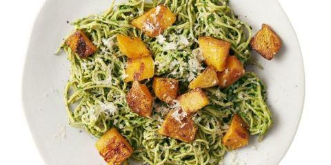 soybean pasta with kale pesto