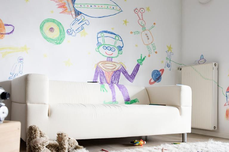 how to get crayons stains off of walls