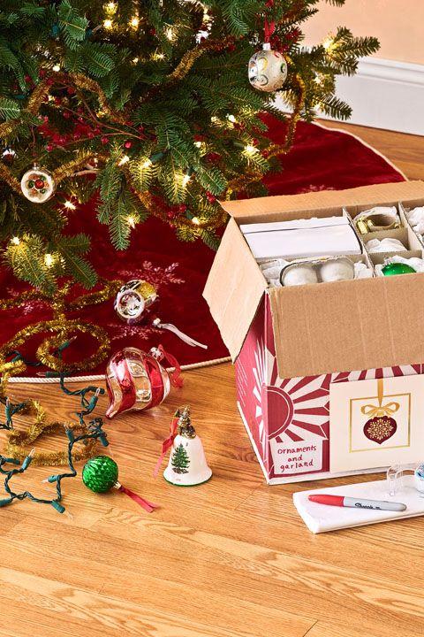 Christmas Decoration Storage Ideas - Use Liquor Store Boxes
