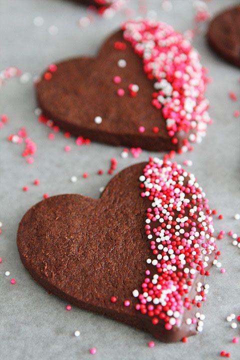 chocolate heart shortbread - heart shaped foods