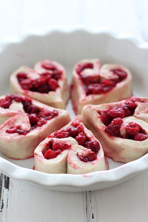 raspberry rolls - heart shaped foods