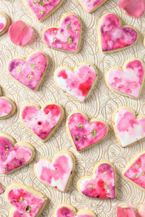 watercolor sugar cookies - heart shaped foods