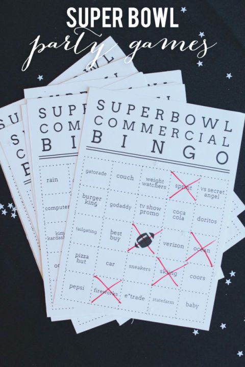 Commercial Bingo - Super Bowl Party Game Ideas