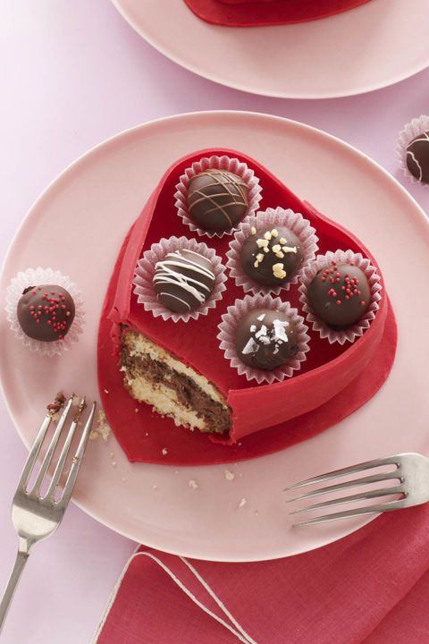 truffle box cake - heart shaped foods