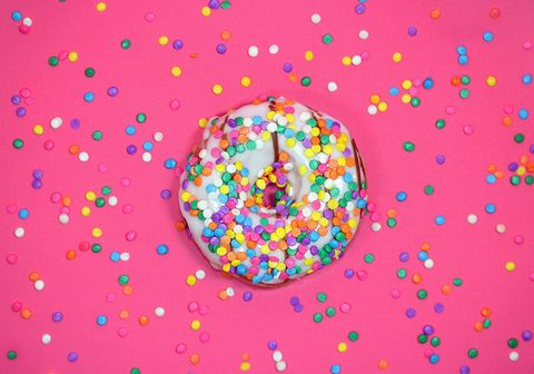 Sprinkles, Doughnut, Pattern, Confectionery, Food, Baked goods, Circle, Cuisine, Sweetness, Candy,